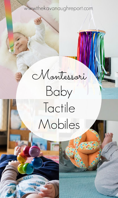 An overview of Montessori and Montessori inspired tactile baby mobiles.
