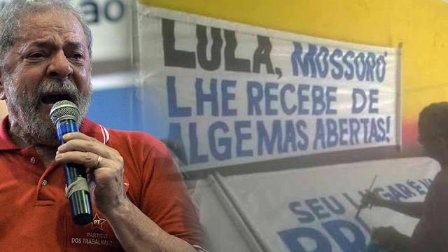 Resultado de imagem para Cidadãos de Mossoró recebem Lula de 'algemas abertas' e foto de faixas viraliza na web