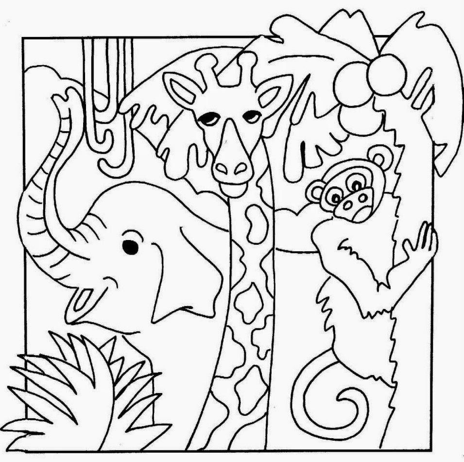 Sketsa Mewarnai Gambar Kebun Binatang Dunia Putra Putri