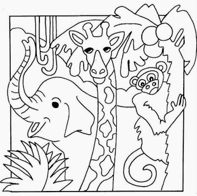 Sketsa Mewarnai Gambar Kebun Binatang Dunia Putri Putra