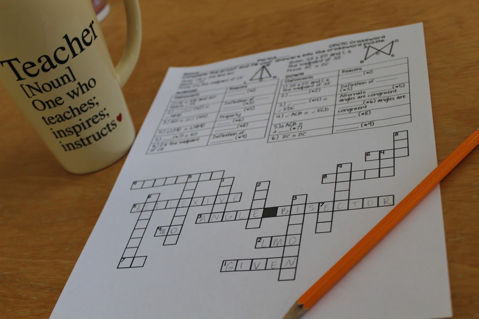 Math Dyal Geometry Proof Crossword Puzzles