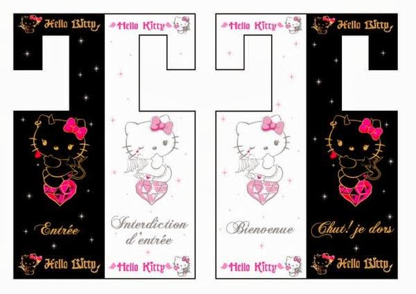Fiesta de Hello Kitty: Señales para Puerta para Imprimir Gratis.
