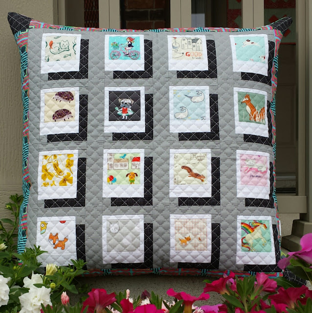 Polaroid quilt block pillow