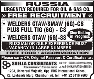 Welders jobs in Russia - Interview in Mumbai