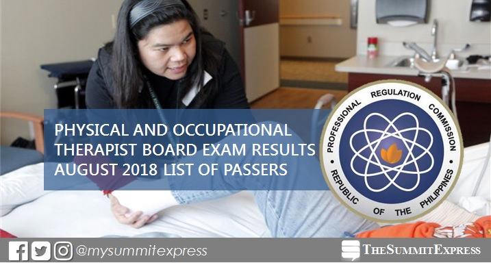 August 2018 Physical, Occupational Therapist PT-OT board exam list of passers, top 10