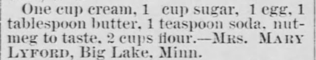 Unnamed cake recipe (with nutmeg), The Saint Paul Globe of Saint Paul Minnesota on July 10, 1887, and posted by USA Today Bestselling Author Kristin Holt.