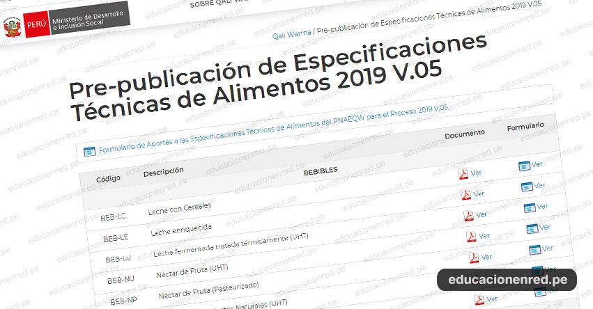 QALI WARMA: Pre-publicación de Especificaciones Técnicas de Alimentos 2019 V.05 - www.qaliwarma.gob.pe