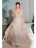 Gorgeous Lace Bodice Ball Gown Cascaded Long Pearl Pink Organza Wedding Dress