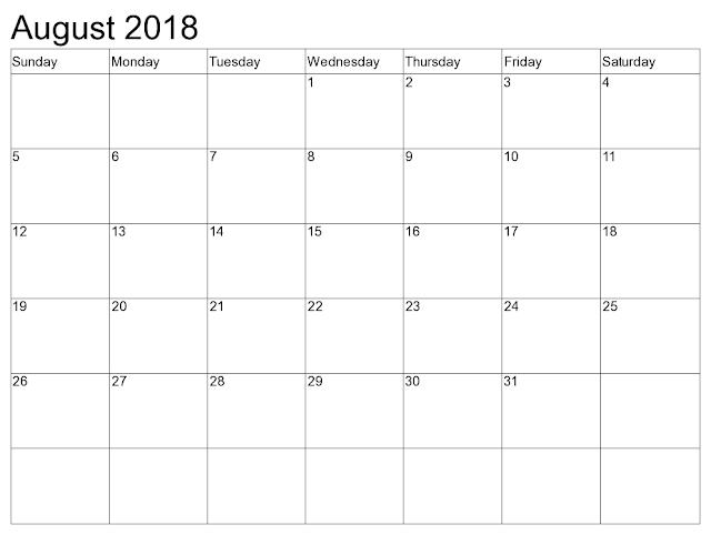 August 2018 calendar Holidays