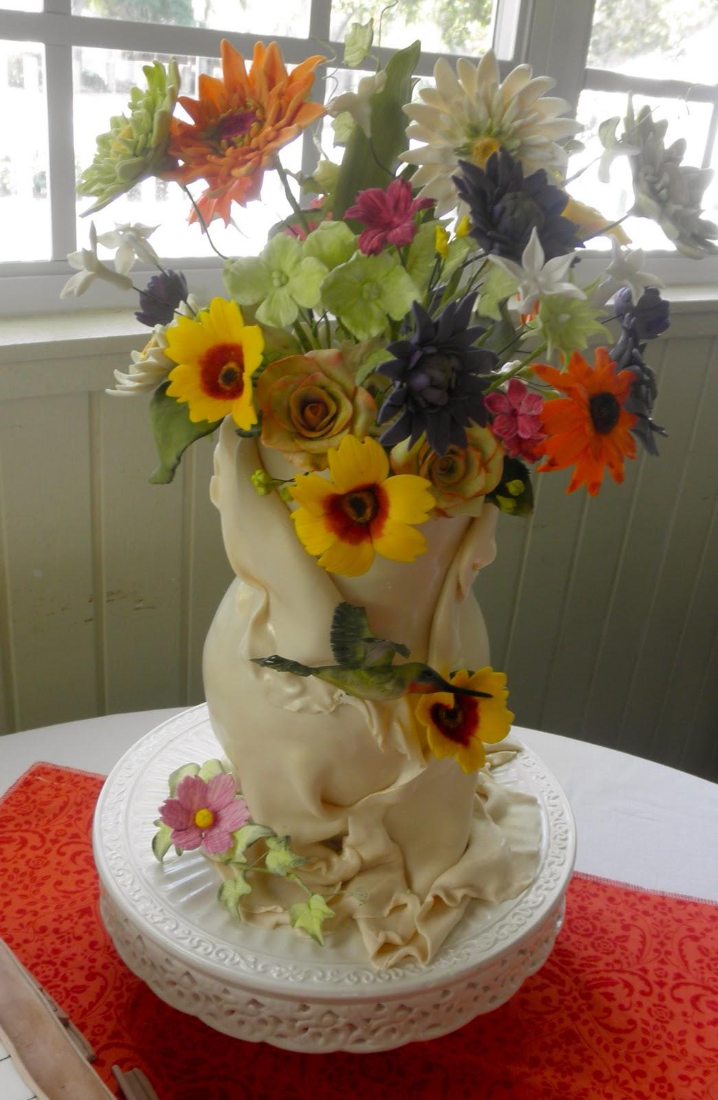 Sweet T's Cake Design: Sculpted Flower Vase Cake w ...