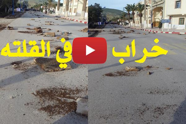 """بالفيديو : محتجون يحولون قرية """"القلته"""" لخراب بالمرسى"""