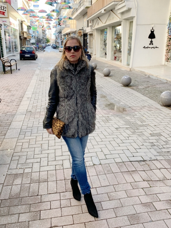 OUTFIT OF THE DAY: How to style a faux fur vest   Ioanna's Notebook