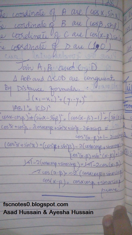 FSc ICS FA Notes Math Part 1 Chapter 10 Trigonometric Identities Proof of Fundamental Law of Trigonometry Written by Asad Hussain & Ayesha Hussain 1