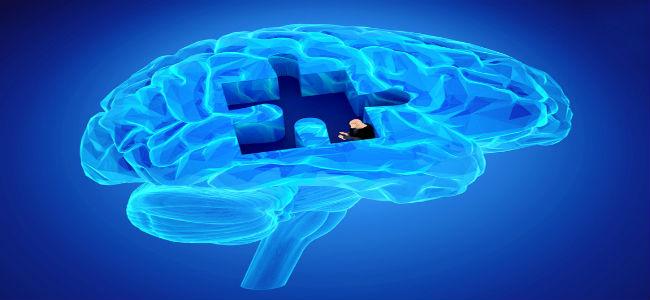 cérebro onde falta uma peça de quebra cabeça