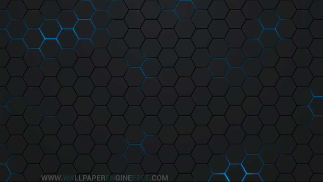 Download Polyhedron Neon Blue Wallpaper Engine