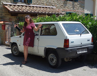 Artist with new old Fiat Panda art sale car buying in Italy