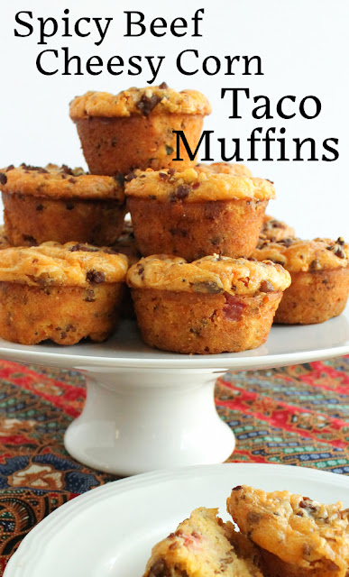 Food Lust People Love: Spicy Beef Cheesy Corn Taco Muffins - These cheesy muffins made with spicy canned tomatoes and cornmeal turn leftover ground beef seasoned with taco spices into a great breakfast or brunch option.