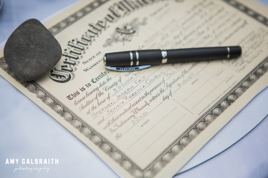 wedding certificate and fancy pen