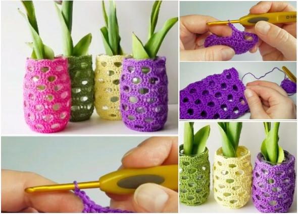 fundas crochet, forrar tarros cristal, patrones ganchillo, hogar