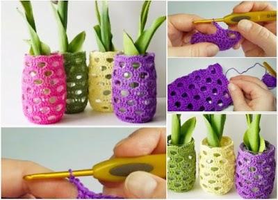 Fundas de crochet para tarros-vasos de cristal