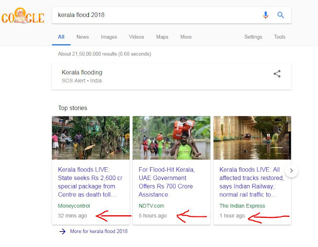 Real time search results for Kerala Flood 2018.