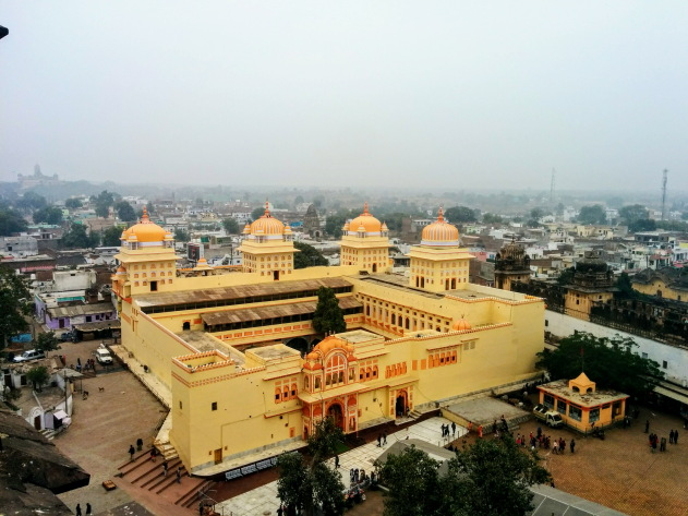 Raja Ram Mandir as seen from the top of Chhaturbhuj temple, Orchha