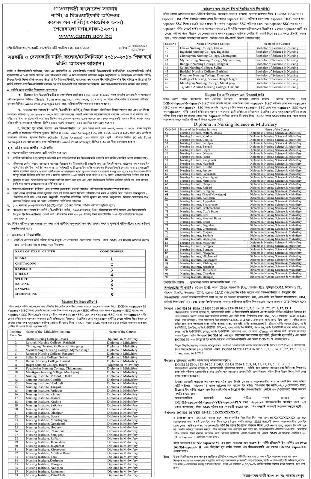 Bangladesh Nursing and Midwifery Council B.Sc in Diploma in Nursing Science and Midwifery Admission Test Circular 2018-2019