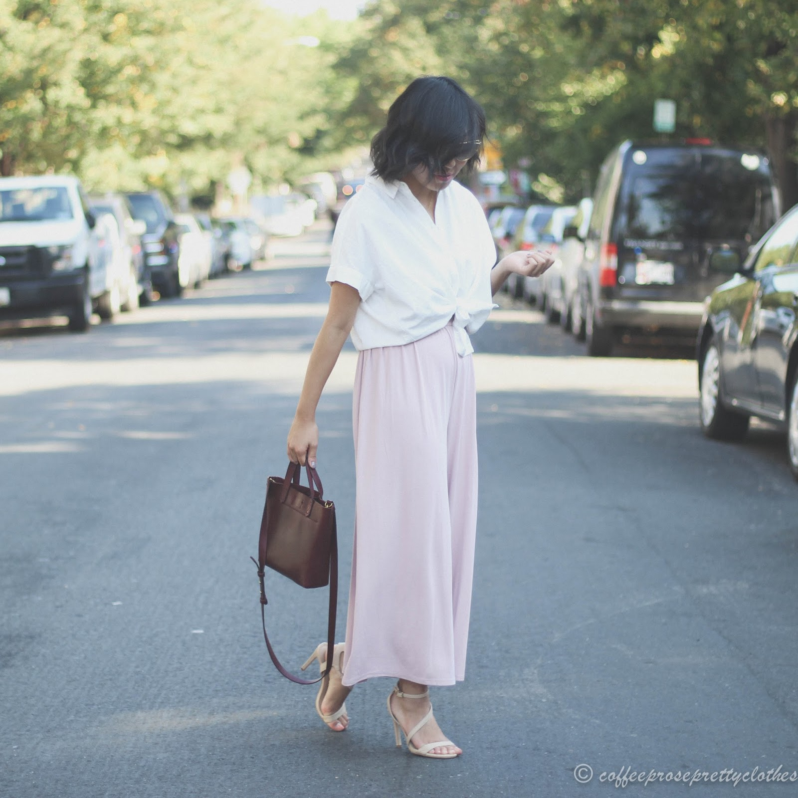 Urban Outfitters Culottes Jumpsuit, Madewell Central Shirt, Madewell Small Transport Crossbody