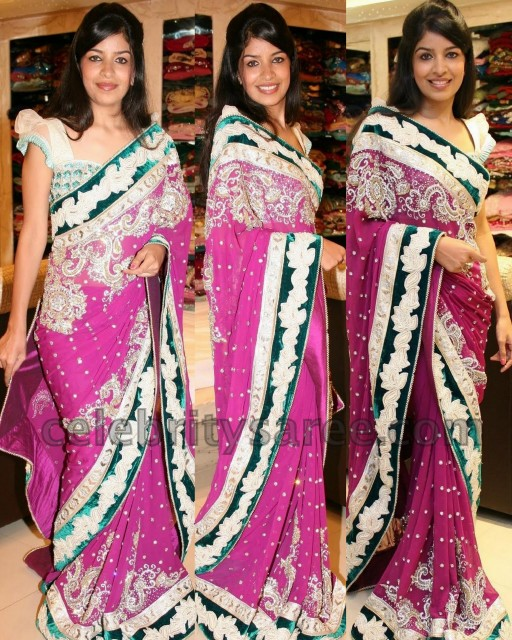 774365b49bd2d Pink net lehenga style saree with green velvet patch work border  embellished with kundan