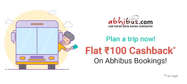 Abhi Bus Get Flat cashback of ₹100