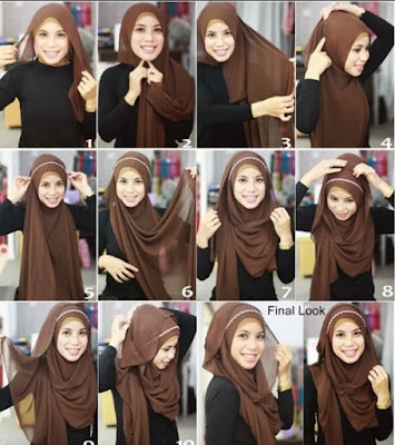 Tutorial Memakai Jilbab Pashmina Sifon Elegan