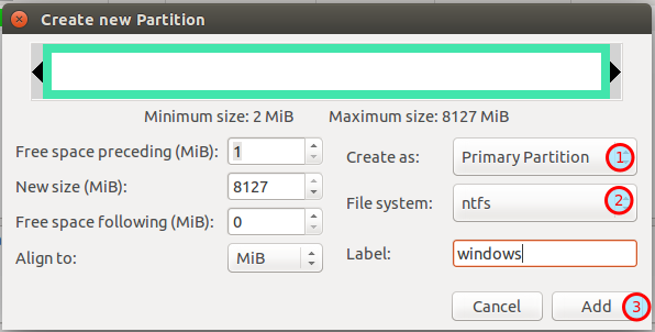 GParted new partition dialog