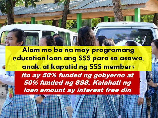 SSS, Apply SSS LOAN ONLINE, Student loan, CHED loan for students No one can deny that gaining education is the  key to a better future. But with the very high cost of education, not everyone can really afford it.  There are many options that a student can actually finance their education. One can apply for scholarship grants, but we must say that not everyone can qualify for scholarship. Another option that a student have is to become a working student, although this might not always apply because in order to get a good job, a person needed to have degree or certificate for their skill or training. Many are actually looking for educational  loan or student loan. Good thing, there are some government assisted education loans available, just like the Educ Assist Loan offered by Social Security System (SSS). .  Who Can Benefit The Educational Assistance Loan of SSS?  SSS members or his/her beneficiaries can avail EducAssist Loan. The beneficiaries can be the SSS member; the spouse (wife or husband of SSS member); child of SSS member; brother or sister of SSS member.   Beneficiaries are defined as follow: 1. Member-borrower, legal spouse, child of SSS member (including illegitimate) and sibling of unmarried SSS member (including half-brother/sister).  2. Married member-borrowers are allowed to avail up to two (2) beneficiaries who shall be any of the following: member himself/herself, his/her spouse, his/her children (legitimate or illegitimate).  3. No substitution of beneficiary shall be allowed.    Can I Apply For Education Loan If I have Existing Salary Loan or Housing Loan ?  As long as the SSS member is up to date in his/her monthly payment for the loan she can apply for EducAssist.    How Much Can I Loan?   The amount of loan depends if you are taking a degree course or vocational.   AMOUNT OF LOAN   Degree Course - Maximum of Php20,000 per semester/trimester/quarter term or actual tuition/miscellaneous fees, whichever is lower, rounded off to the next higher Php100.   Vocational/Technical Course (minimum of 2 years) – Maximum of Php10,000 per semester/trimester or actual amount of tuition/miscellaneous fees, whichever is lower, rounded off to the next higher Php100.   The loan shall be funded by National Government (NG) and SSS on a 50:50 basis. Any excess on the tuition fee and miscellaneous expenses shall be borne by the member/beneficiary  What is the interest rate for the loan?  There is 0% interest for the amount funded by the government. And 6% annual interest for the amount funded by SSS ARTICLE HERE How Do I Apply For The SSS Education Loan?  The following requirements needed to be accomplished and submitted to SSS  1. SSS ID or two (2) valid IDs.  2. Accomplished application form. Click here to download form 3. Assessment/Billing statement issued by the school of member/beneficiary.  4. Proof of monthly salary/income : pay slip or pay envelope or employer's certification (For Employed).    Member-borrower whose last posted Monthly Salary Credit (MSC) is Php15,000 or below, provided that his/her actual monthly basic salary or income is not more than Php25,000; member-borrower who falls under MSC of Php15,000, must present proof of actual monthly salary/income of not more than Php 25,000.   5. Income Tax Return or affidavit of income (For self-employed/voluntary paying).    How long do I have to repay my education loan in SSS?  Degree Course - The term is up to five (5) years and loan payment shall start after 18 months for semestral courses, 15 months for trimestral courses or 14 months & 15 days for quarter term courses from the scheduled last release date or from the date of last release for those who will not avail of the subsequent releases.     Vocational/Technical Course - The term is up to three (3) years and loan payment shall start after 18 months for semestral courses or 15 months for trimestral courses from the scheduled last release date or from the date of last release for those who will not avail of the subsequent releases. Any unpaid educational assistance loan shall be deducted from the future benefit of the member.       It is important also that the school must be accredited by the Commission on Higher Education for degree courses and Technical Education and Skills Development Authority for vocational/technical courses. ©2016 THOUGHTSKOTO
