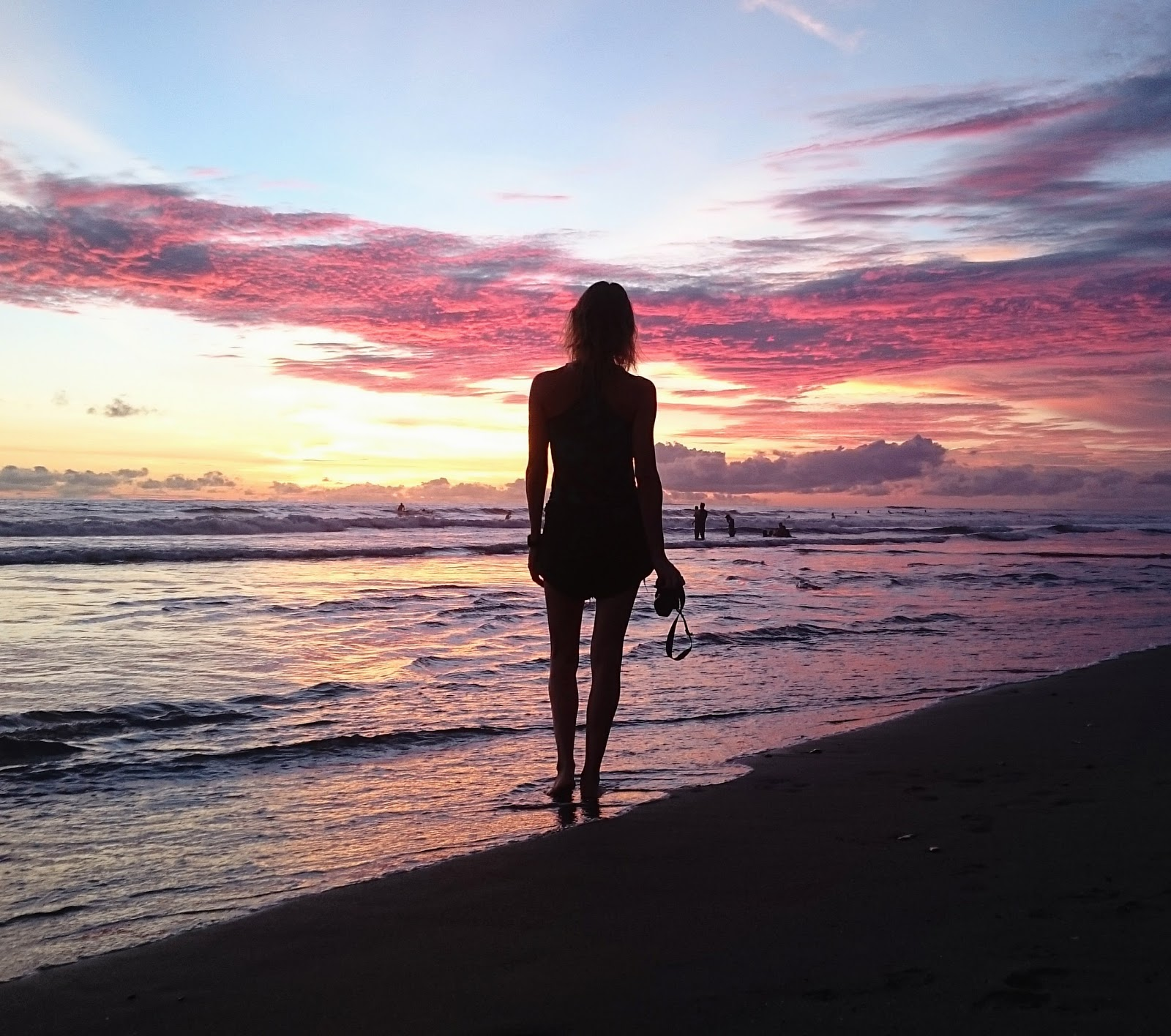 Stunning pink sunset in Canggu Bali, Indonesia