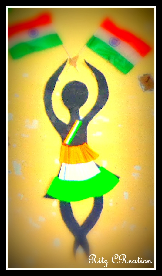 Cheer leader draw  figure on black chart use tri color frills for skirt arrange the flags as shown beautiful wall decoration ready also ritz creation independence day rh ritzcreationspot