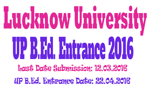 UP BEd Entrance Form 2016