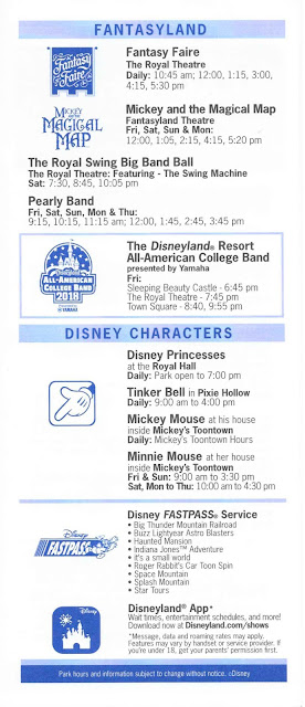 Disneyland Times Guide August 10-16 2018 Fantasyland Characters