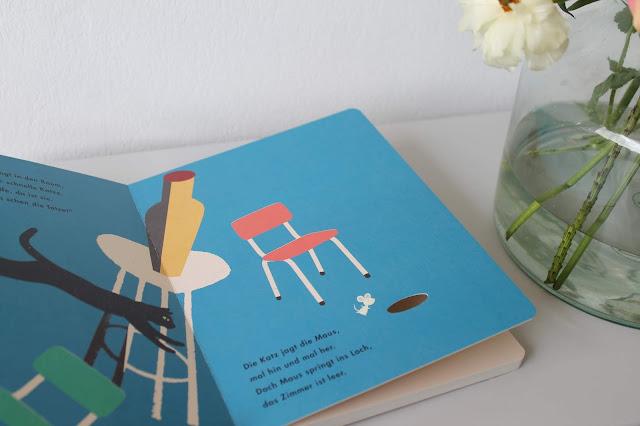 Innenseiten KAtze und Maus Britta Teckentrupp Liebe Pappbilderbuch Buchtipp Jules kleines Freudenhaus