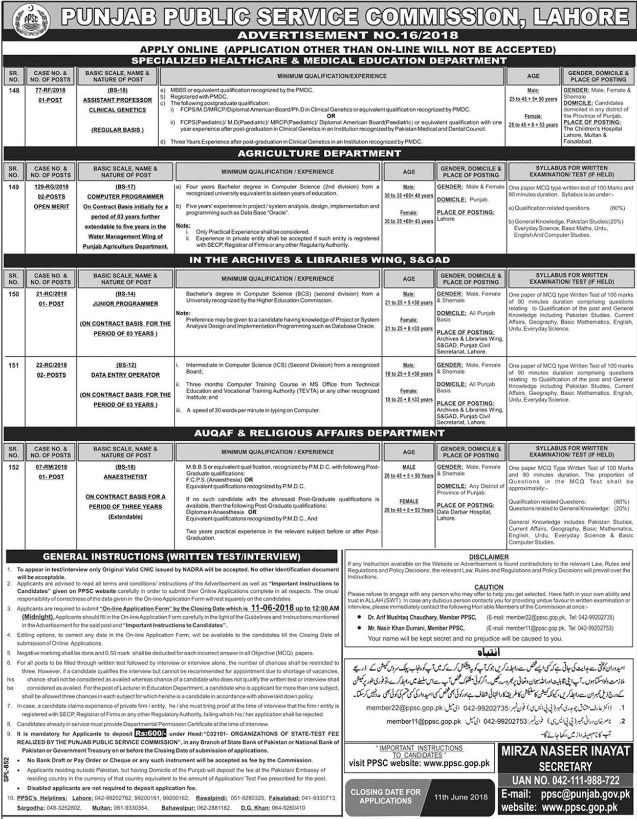 Jobs In Punjab Public Service Commission PPSC Advertisement No.16/2018