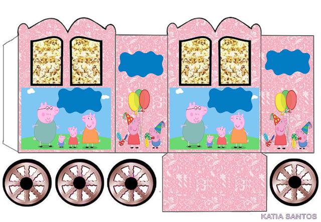 Peppa Pig y su Familia: Caja con forma de Carruaje para Imprimir Gratis.
