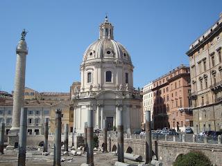 The remains of Trajan's Forum, looking towards the  church of  Santissimo Nome di Maria al Foro Traiano