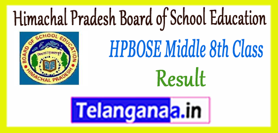 HPBOSE Himachal Pradesh Board of School Education Examination  8th SOS Middle Exam Anupurak Result 2017