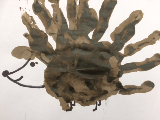Hand print hedgehog