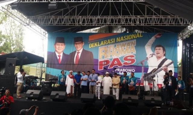 Relawan Rhoma Deklarasi Dukung Prabowo-Sandi di Soneta Record