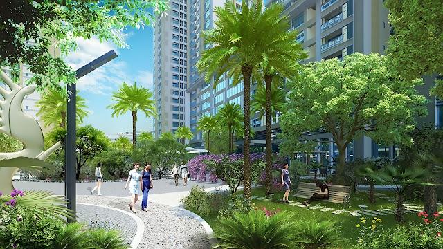 Không gian xanh chung cư Rose Town Ngọc Hồi