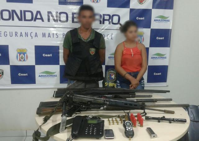 ARMAS DE GROSSO CALIBRE E FUZIL DE USO EXCLUSIVO DAS FORÇAS ARMADAS APREENDIDOS EM COARI