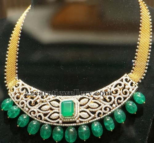 Choker with Emerald Tear Drops