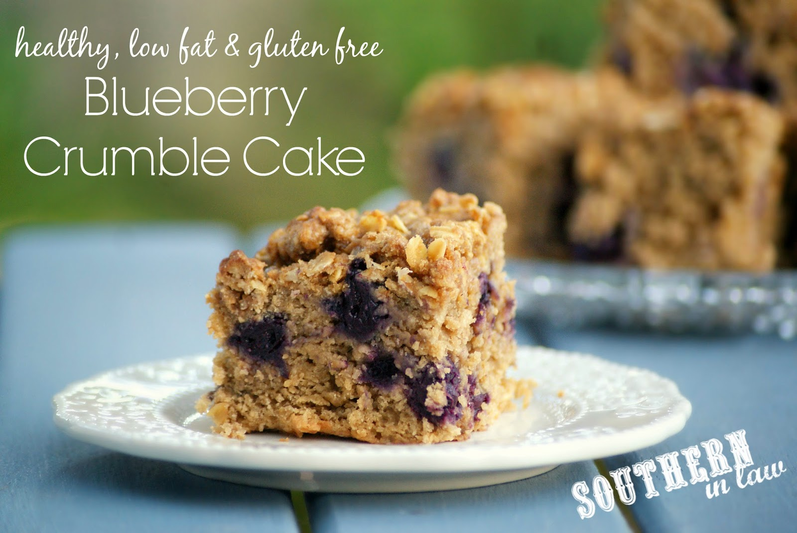 Gluten Free Blueberry Crumble Cake Recipe - gluten free, low fat, lower sugar, vegan, dairy free, egg free, healthy