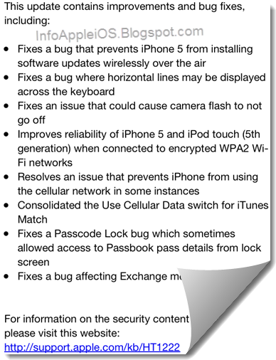 Change Log iOS 6.0.1