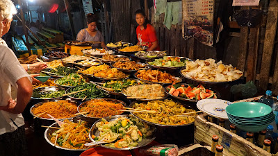 One of Luang Prabang's must-trys, the vegetarian buffet
